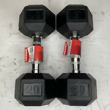 Weider 20 LB Dumbbells Pair Set of 2 - 40lbs Total, Rubber Coated Hex BRAND NEW