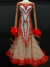B7343 Ballroom Tango Waltz standard dance Competition dress us 6 skin/red
