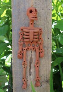 Day of the Dead Rust Color Skeleton Handmade Clay Atzompa Oaxaca Mexico Folk Art