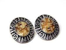 Rare Signed Sterling Silver Zealandia Design Earrings Oval Pierced Spiritual