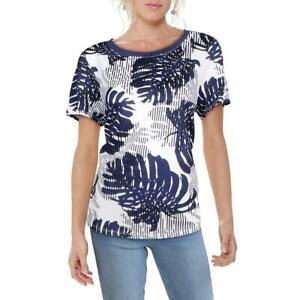 Tommy Bahama Womens Navy Printed Short Sleeve Tee T-Shirt Top L BHFO 1956