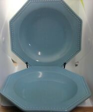 Le Faubourg Portugal 1960s Octagon Baby Blue Soup Bowl with Dot Embellishments