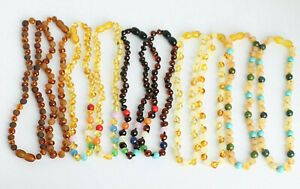 """BALTIC AMBER NECKLACES Lot of 10 Various Rounded Amber Beads + Stone 13-22"""" Bulk"""