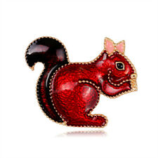 Cute Red White Enamel Rhinestone Squirrel Brooches Gold Plated Brooch Pin Gift