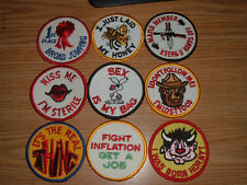 VINTAGE EMBROIDERED PATCHES JOKES HUMOROUS LOT OF 9