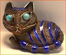RARE STERLING & COBALT BLUE ENAMEL CAT PIN TURQUOISE CABOCHON EYES VINTAGE CHINA