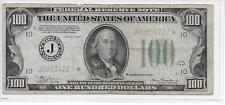 RARE 1934 $100 DOLLAR NOTE, J STAR MULE, BACK PLATE #116