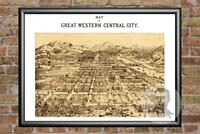Old Map of Central City, CO from 1887 - Vintage Colorado Art, Historic Decor