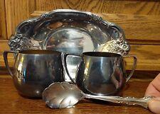 "International Silver Co Silverplate 10 3/4""  Serving Tray Sugar Creamer Spoon"