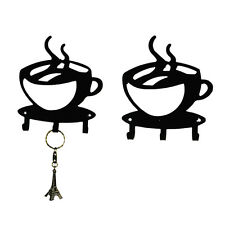 1pcs Coffee Cup iron Silhouette Wall Key Hanging Holder 3 Hook Home Decor