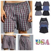 3 6 12 Men KNOCKER Boxer Shorts Underwear Lot Plaid Trunk Cotton Brief S-3XL