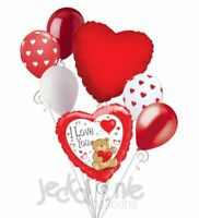 7 pc Sweet Teddy Bear I Love You Heart Valentines Day Balloon Bouquet Be Mine