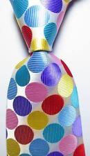 New Classic Dot White Light Blue Red JACQUARD WOVEN 100% Silk Men's Tie Necktie