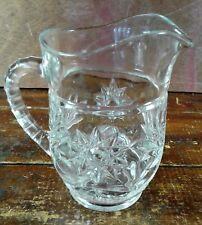 Milk Pitcher Early American Prescut EAPC Star of David Crystal Clear Glass Pint