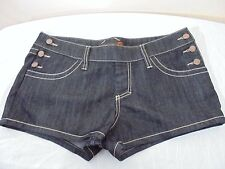 New G by GUESS Womens 31 Jean Shorts Dark Wash Buttoned Sides Stretchy NWT