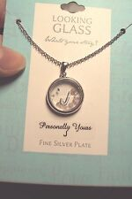 """Letter J initial circle + crystals 925 sterling silver plt pendant 18"""" necklace"""