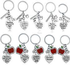 Apple Teacher Gift School Key Chain Charm Pendant Gift Present Key Rings Keyring