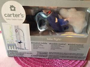 Carter'S Take Flight Airplane/Cloud Nursery Crib Musical Mobile, E, Navy, Grey,