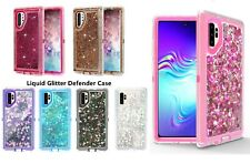 For samsung Galaxy Note 10+ Plus Glitter Liquid Defender Case Fits Otterbox Clip