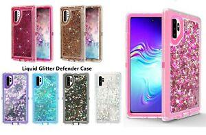 new For samsung Galaxy Note 10+ Plus Glitter Liquid Defender Case luxury hybrid