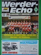 Programm 1993/94 SV Werder Bremen - SC Freiburg