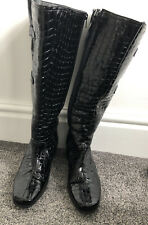 Black Leather Patent Crocodile Effect Boots Size Uk 6 Knee Length Wide Fit
