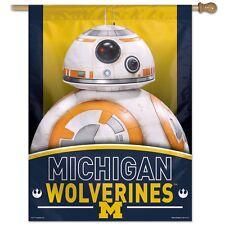 "MICHIGAN WOLVERINES STAR WARS BB-8 27""X37"" BANNER FLAG NEW FREE SHIPPING"