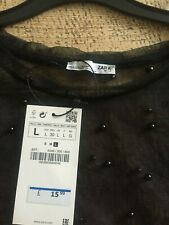 ladies zara black beaded see through top t-shirt size L bnwt