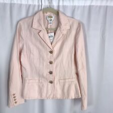 Talbots Blazer Sz 8 Pink Jacket Top Irish Linen Cotton Blend NEw Defect EB117