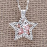 NEW Disney Tinkerbell Crystal Star Silver Plated Pearl Beads Cage Necklace