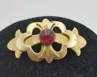 Antique Victorian Buckle Design Brass Brooch with Red Glass Detail