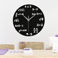 Design Funk Wanduhr Mathematik ALGEBRA Rechnen Funkuhr Büro-Uhr Glas Schwarz NEU