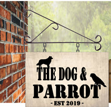 Dog and Parrot  Personalised Hanging Pub sign, 30cmx20cm Bar, Man Cave, Free P&P