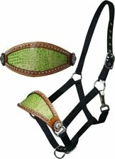 WESTERN SADDLE HORSE BRONC HALTER BLACK NYLON WITH LIME GREEN LEATHER NOSE BAND