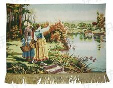 TAPESTRY Wall Hanging Ladies River Picnic View Finished Backed Hang Ready LARGE