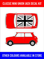 Classic Mini Union Jack Roof Decals Kit Cooper Racing Vinyl Graphics NEW