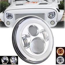 7'' Chrome Hi/Lo LED Round Projector Head Halo Angel Eye light For Jeep TJ JK