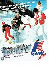 PUBLICITE ADVERTISING 027  1982  K-Way équipement ski équipe de France