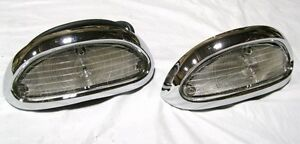 1955 Chevy Bel Air 210 Clear Parking Lamp Assembly PAIR lights lenses LH RH