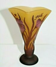 Vintage Galle Reproduction Tip Cameo Art Glass Vase w/ Floral Design