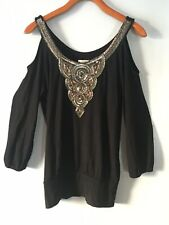 CACHE Women's Blouse Top Black Bronze & Silver Sequined Beaded Cold Shoulder 3/4
