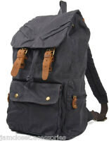 Large Size Stone-Wash Black Canvas Backpack Schoolbag For School