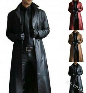 Men's long lapel leather jacket windbreaker parkas overcoat coat outwear