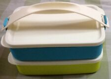 TUPPERWARE STACKABLE LUNCH CONTAINERS Click to Go Set w/ Handle-New Colors