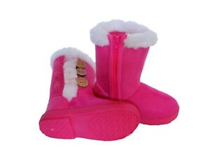 New Baby Infant Pink Girls Buttons Dress Winter Casual Boots Shoes sz 2