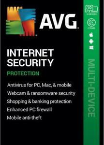 AVG INTERNET SECURITY 2021-10 DEVICES -1 YEAR CODE✅ AUTHORIZED RESELLER✅