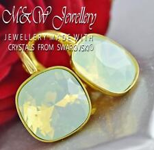 Gold Pl.925 Silver Earrings Crystals From Swarovski® FANCY STONE Chrysolite Opal
