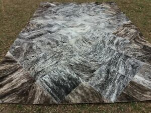 COWHIDE PATCHWORK CARPET AREA RUG LEATHER Cow hide Brindle Gray EXCLUSIVE !!!!