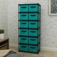 Storage Containers with 6 Shelves and 12 Removable Non-woven Fabric Bins Mulsh