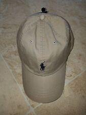 POLO RALPH LAUREN MEN'S KHAKI NUBUCK BALL CAP HAT NAVY LOGO ADJUST OSFA $39 NWT
